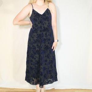 NWT Hinge Navy Blue Velvet Burn Out Midi Dress